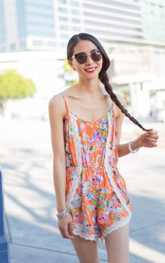 Becca Floral Romper in Orange — MODLOOK 29