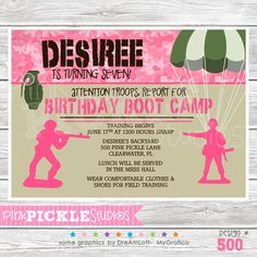 Boot Camp Girl Personalized Party Invitation-personalized invitation, photo card, photo invitation, digital, party invitation, birthday, shower, announcement, printable, print, diy,Boot Camp Boy Personalized Party Invitation, military, bootcamp, marines, army, camo, camouflage, parachute