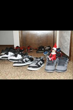 Elf on a Shelf...tying my son's shoes together