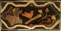 """Hooked Rug With Bird  Pennsylvania, Ca. Early 20th Century     Cotton and wool in very good original condition. 39"""" wide x 21"""" high."""