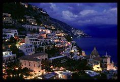 Positano and Mediterranean before nightfall. Amalfi Coast, Campania, Italy