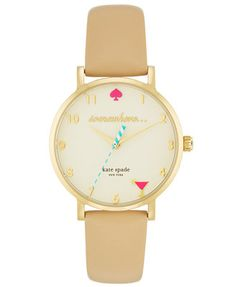 Martini glass at happy hour 5pm! kate spade new york Women's Metro Vachetta Leather Strap Watch 34mm 1YRU0484