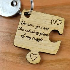 Personalised Oak Wooden Jigsaw Piece Valentines Day Keyring - Pretty Personalised