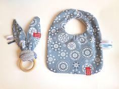 XL GIFT SET - Baby bib, taggie blanket, bunny ear teether & soft animal - sSCAPESs art & handmade