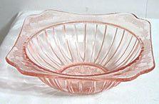 "Depression Glass - Jeannette - Adam - Pink Bowl 9"""