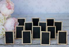 Rustic Wedding Chalkboard Signs Shabby Chic Decor SET of 12 (item P10174). $48.00, via Etsy.