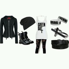 Cute scene greenday clothes. Courtesy of Polyvore.