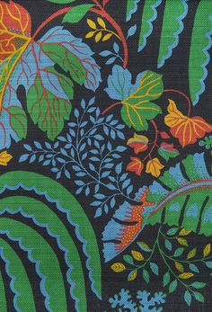 Rainforest Fabric Large Weave Black Cotton Fabric With Jungle Leaf Design  In Rich Green, Red