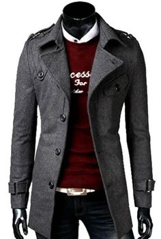 Mens Slim Military Winter Coat Jacket Parka Trench Outerwear