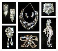 Vintage rhinestone jewelry, pre 1950s.