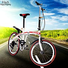 2017 new U8 Carbon Steel Foldable Sports 6 Speed Bicycle Bike Folding Bicycle Red