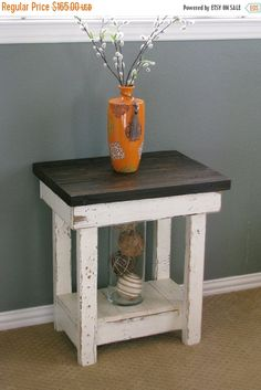 ON SALE White End Table With Shelf