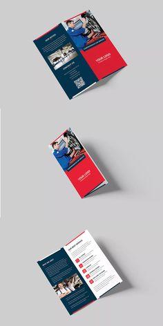 Auto Repair Bi-Fold DL Brochure Template PSD