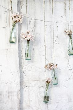 Pretty Flowers In Hanging Bottles ♡ Deco Pastel, Tout Rose, Home And Deco, Diy Wedding, Loft Wedding, Beautiful Flowers, Backdrops, Shabby Chic, Diy Crafts