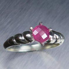 0.80cts Natural Red Spinel round checker cut Sterling 925 by EVGAD