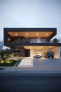 📣 Most Popular Modern Flat Roof House Design 56 - Haus Ideen Flat Roof House Designs, House Front Design, Modern House Design, Design Garage, Luxury Modern House, Luxury Houses, Facade House, House Roof, House On A Hill