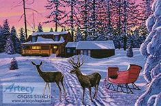 Winter in Running Springs cross stitch pattern.