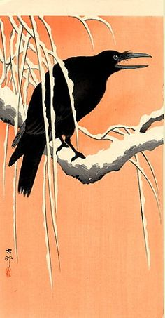 JAPAN PRINT GALLERY: Crow on Snowy Bough