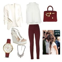 Off to work outfit  by aniza-27 on Polyvore featuring polyvore, fashion, style, H&M, J Brand, Lola Cruz, Hermès and FOSSIL
