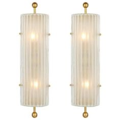 Murano Ribbed Glass and Brass Finial Sconces