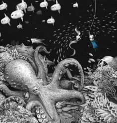 Bluegirl in the deep sea by Sungwon , via Behance