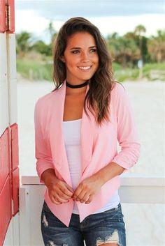 Buy this classic Light Pink Blazer from Saved by the Dress Online Boutique. Awesome casual blazer to wear to any event. Perfect blazer for parties, school or work! Must have blazer! Rosa Blazer Outfits, Blazer Dress, Light Pink Blazers, European Models, Pink Suit, Casual Blazer, Professional Look, Blazer Fashion, Fashion Over 40