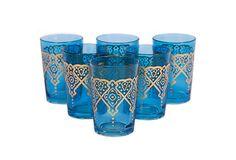 S/6 Punto Moroccan Glasses, Blue on OneKingsLane.com