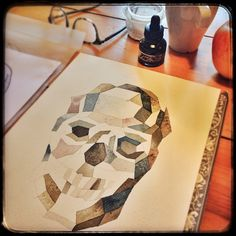 I know not my usual subject matter. Special Day of the Dead assignment in progress. by lisakaebee