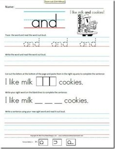 Kindergarten (Primer)  Kindergarten Sight Word Sentence worksheets.  Each one has the word along with a funny sentence. Students will practice tracing the word, reading the word, then writing it on their own. by SammyHK