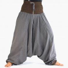Aladdin pants made of light cotton - Aladdin pants - gray Cotton Harem Pants, Estilo Hippy, Hippie Pants, Crazy Outfits, Cotton Lights, Eminem, Gypsy, Bohemian, Womens Fashion