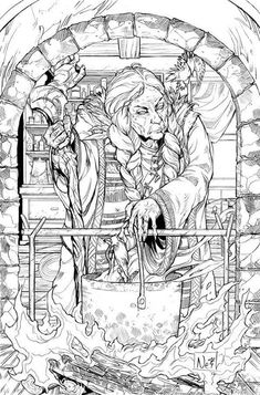 Witches Brew Fantasy Myth Mythical Mystical Legend Coloring Pages Colouring Adult Detailed Advanced Printable Kleuren Voor