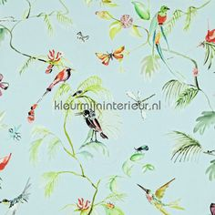 Colourful exotic designed birds blue behang 17711 uit de collectie Designed for Living van BN Wallcoverings online bestellen bij kleurmijninterieur