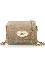 Lily mini metallic textured-leather shoulder bag