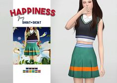 """Happiness Joy Shirt + Skirt • New meshes / EA mesh edits • Category: top (women), bottom (women) • Age: teen / young adult / adult / elder • 4 swatches (shirt), 6 swatches (skirt) • Suggested by anonymous Download: """"Shirt: SimFileShare Skirt:..."""