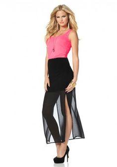 Maxi dress, black-pink