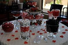 Red and Black Bridal Shower Candy Buffet