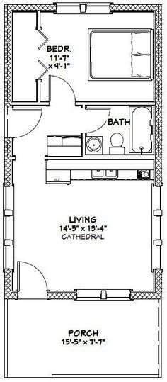 16x30 Tiny House -- #16X30H13 -- 480 sq ft - Excellent Floor Plans