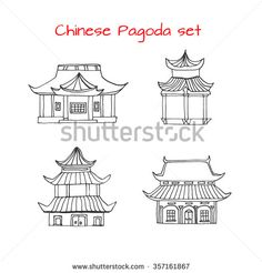 Hand drawn set with detached Asian traditional Chinese houses. Black and white…