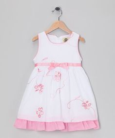 Take a look at this White & Pink Flower Bow Dress - Infant, Toddler & Girls by Tutu AND Lulu on #zulily today!