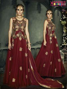 Maroon Indo Western Style Anarkali Suit