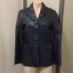 Gap black leather jacket Gap leather jacket, in very good condition, size small, bust 38, length 25, sleeves 22, shoulder to shoulder 16 GAP Jackets & Coats