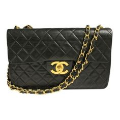 Pre-Owned Vintage Chanel Lambskin Jumbo Flap Bag (£2,700) ❤ liked on Polyvore featuring bags, handbags, black, lambskin handbag, pre owned purses, hologram handbag, long purses and chain purse