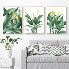 Tropical Botany Paintings Green Leaves Yellows Flowers Nordic Style Fine Art Canvas Prints Green Leaves Wall Art For Modern Home Interior Decor Living Room Pictures, Wall Art Pictures, Wall Prints, Canvas Prints, Leaf Wall Art, White Wall Art, Decorating With Pictures, Royal Oak, Room Wall Decor