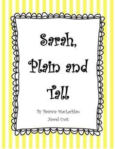Sarah, Plain and Tall Novel Study - historical fiction