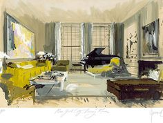 1967 rendering, Dan Melnick New York Sitting Room. Jeremiah Goodman.