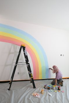 Pastel Rainbow Wall Mural - Wall Murals are large sized , scenic graphics, which are affixed to your wall. Rainbow Room Kids, Rainbow Bedroom, Rainbow Wall, Rainbow Girls Rooms, Rainbow Nursery Decor, Kids Wall Murals, Mural Wall, Little Girl Rooms, Room Paint