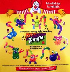 1997 McDonalds Nickelodeon Tangle Twist-A-Zoid MIP Complete Set, Boys/ Girls, Complete set. Plese look at my other listing for others McDonalds toys Mcdonalds Fast Food, Mcdonalds Toys, 90s Childhood, Childhood Memories, Toddler Toys, Kids Toys, Tangle Toy, Stress Toys, Printing Labels