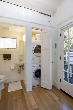 Sectionals For Small Living Rooms - small laundry room (closet) inside of a bathroom – clean, white, efficient, lots of Laundry Room Bathroom, Small Laundry Rooms, Laundry Closet, Laundry Room Design, Bathroom Cleaning, Bathroom Storage, Bath Room, Bathroom Small, Bathroom Ideas