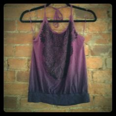 ★Flash Sale★Express Halter Top Purple ombre halter top with gorgeous black felt detail on the front. Flattering scoop neck with spaghetti strap tie around the neck. Fits loose away from body and is great for all kinds of body types. Tops Camisoles