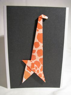 Handmade Origami Giraffe Birthday Greeting Card ... like the stark lines and how they show up on black ...
